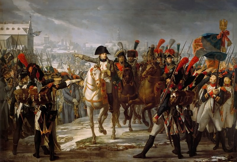 Claude Gautherot -- Napoleon Addressing the 2nd Corps of his Army at the Bridge over the Lech at Augsburg, Germany, on October 12, 1805. Château de Versailles