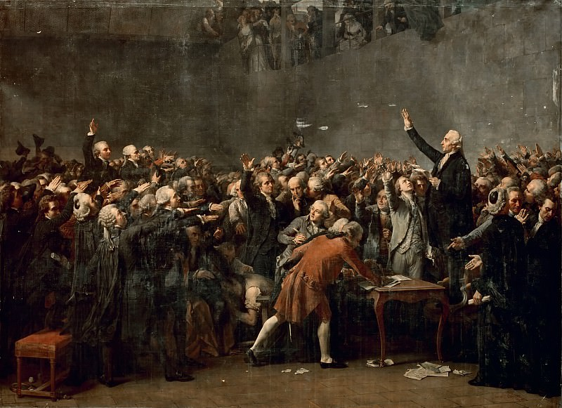Auguste Couder -- Oath of the Tennis Court (Oath of the Jeu de Paume), 20 June 1789. Château de Versailles