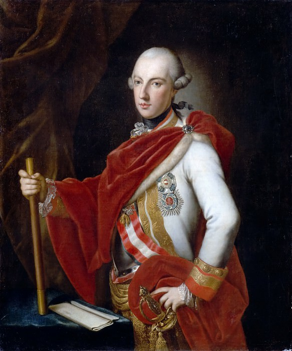 Anton von Maron -- Joseph II (1741-1790), Emperor of Austria, King of Hungary and Bohemia, in the uniform of a field marshal of Austria, wearing the Order of the Golden Fleece, the Military Order of Maria-Theresa and a plaque of the Order of Saint Steven of Hungary. Château de Versailles