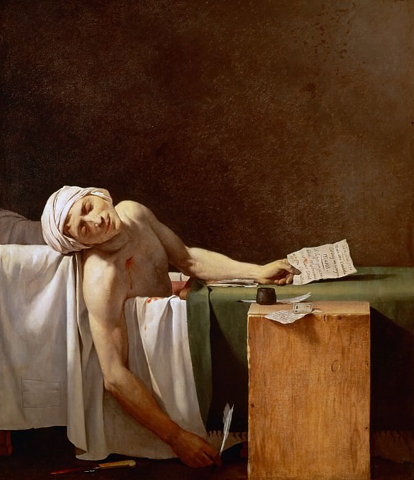 Assassination of Jean-Paul Marat in his bath. Jacques-Louis David