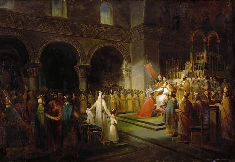 François Dubois -- Annointing of Pepin the Short at Saint-Denis, 28 July 754. Château de Versailles