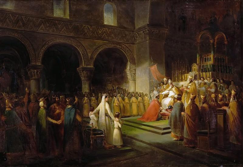 Франсуа Дюбуа -- Помазание на царство Пипина Короткого в аббатстве Сен-Дени. Версальский дворец