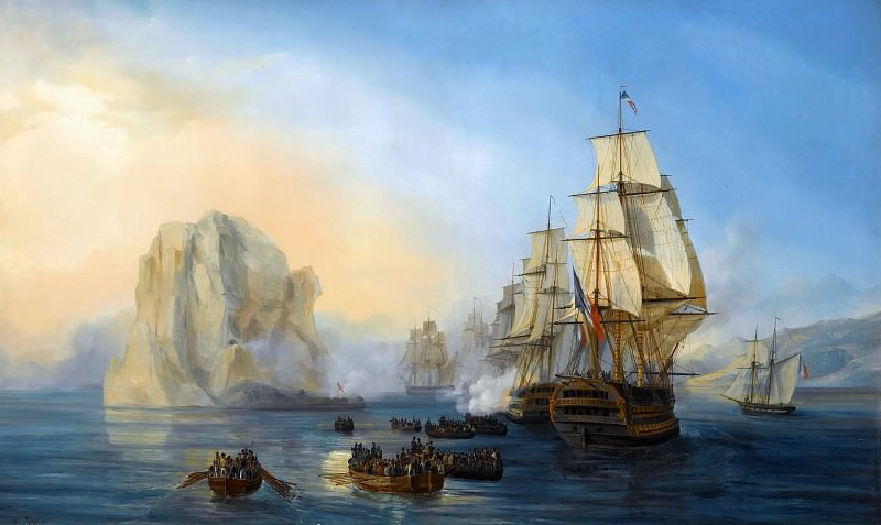 Auguste Etienne François Mayer -- Taking of the rock Le Diamant, near Martinique, 2 June 1805. Château de Versailles