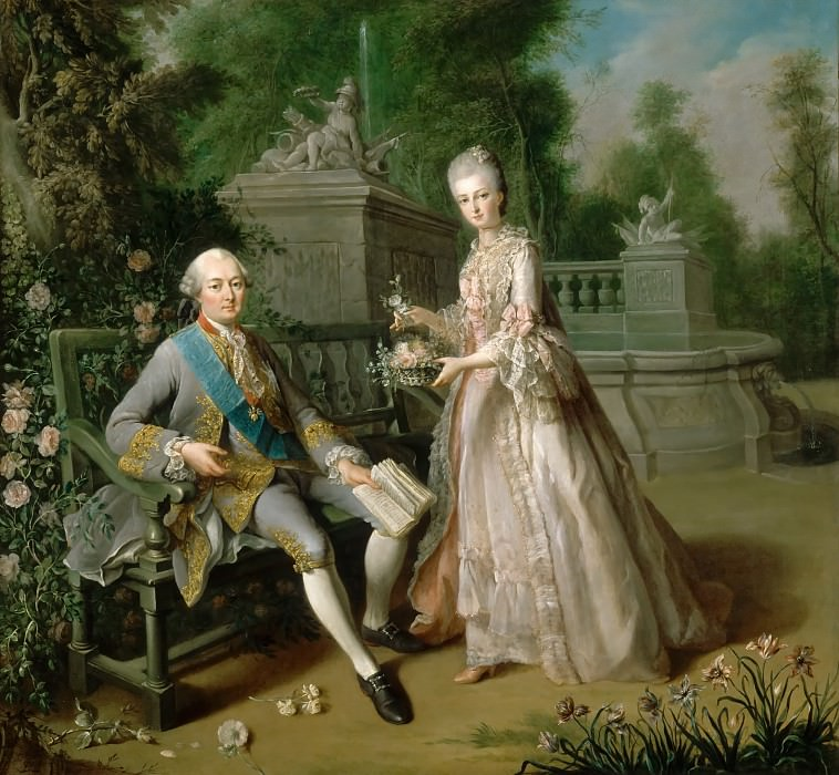 Jean-Baptiste Charpentier the Elder -- Louis-Jean-Marie de Bourbon, duc de Penthièvre, and his Daughter, Louise-Adelaïde, Mademoiselle de Penthièvre, the future duchesse of Orléans, in a Garden. Château de Versailles