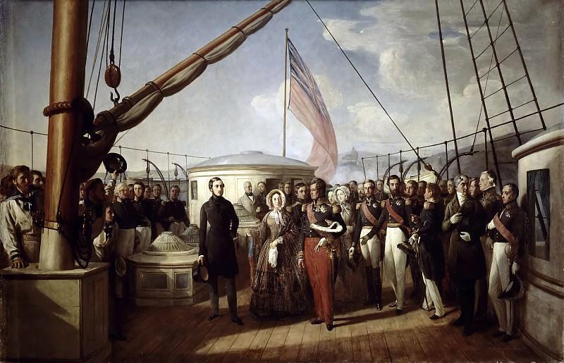 François-Auguste de Bear -- Entrevue de Louis-Philippe et de la reine Victoria à bord du Victoria and Albert , 2 septembre 1843. Château de Versailles