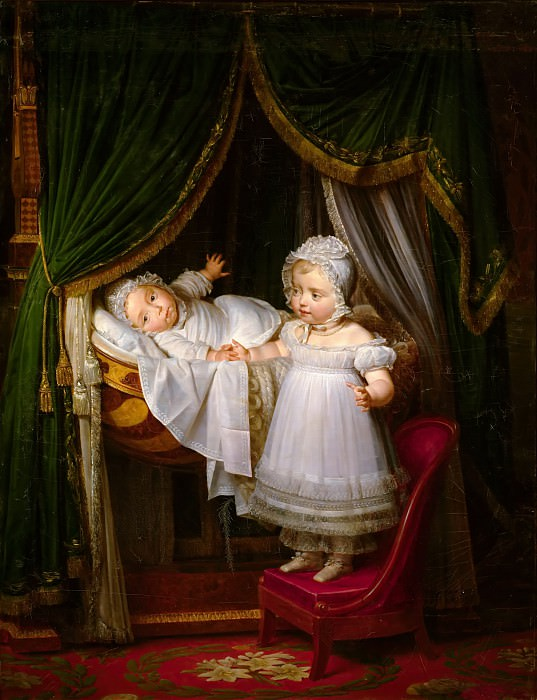 Louis Hersent -- Henri-Charles-Ferdinand d'Artois, Duc de Bordeaux in his cradle with his sister Louise-Marie-Thérèse d'Artois in the Tuileries Palace. Château de Versailles