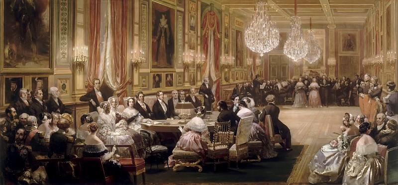 Lami, Eugène -- Concert dans la Galerie des Guise à Eu, 1843. Château de Versailles