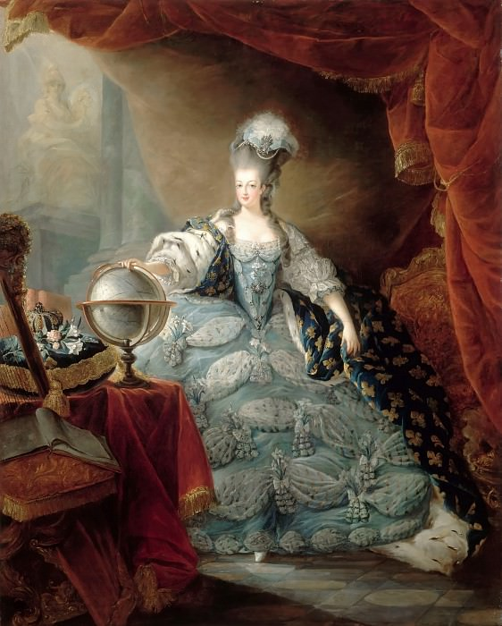 Jean-Baptiste André Gautier-Dagoty -- Marie Antionette in Court Clothes with her Hand on a Globe. Château de Versailles