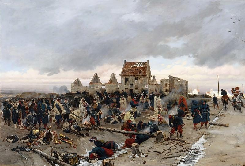 Alphonse de Neuville -- Bivouac in front of Le Bourget, after combat 21 December 1870. Château de Versailles