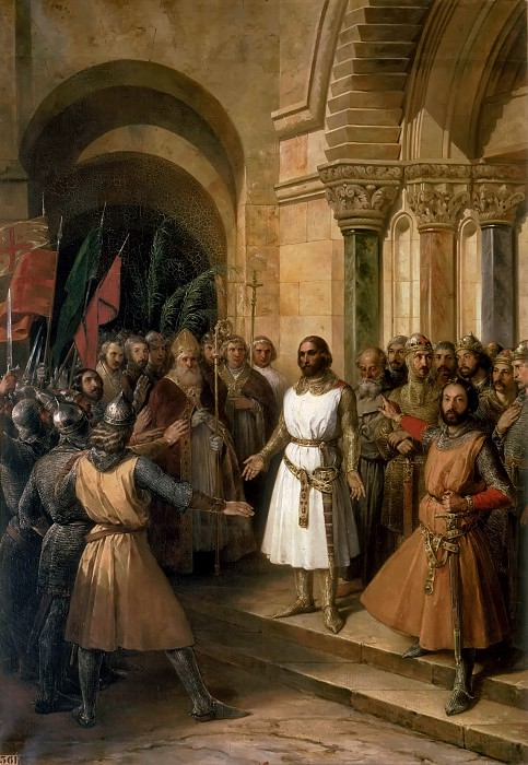 Federico de Madrazo y Kuntz -- Godefroy de Bouillon elevated King of Jerusalem, 23 July 1099. Château de Versailles