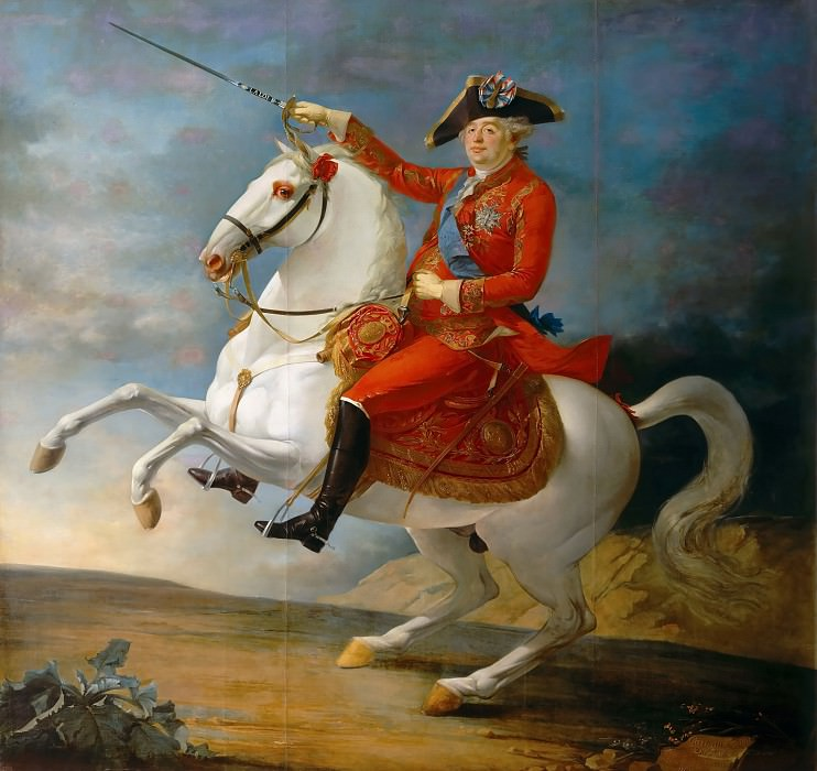 Jean-Baptiste-François Carteaux -- Louis XVI, King of France and Navarre; equestrian portrait of the king wearing the tricolor cockade. Château de Versailles