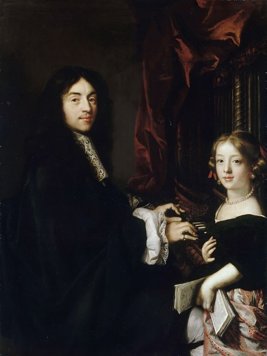Claude Lefebvre -- Charles Couperin with the Artist's Daughter. Château de Versailles