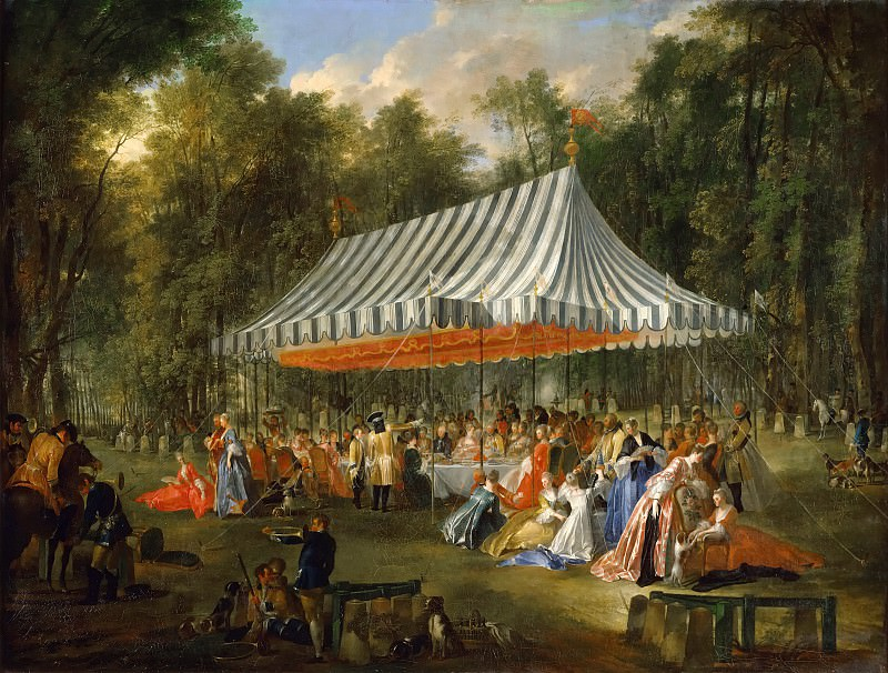 Michel Barthélemy Ollivier -- Celebration given by Prince de Conti as hereditary Prince of Brunswick-Lunebourg at L'Ile-Adam, 1766. Château de Versailles
