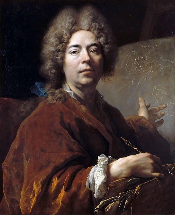 Nicolas de Largillière -- Self Portrait Working on an Annunciation. Château de Versailles