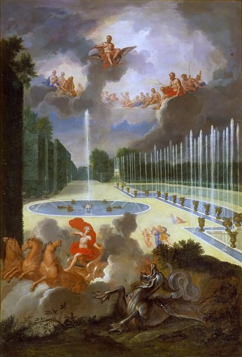 Jean Cotelle the younger -- View of the Basin of the Dragon and the ramp to the Basin of Neptune, with Apollo killing the serpent Python. Château de Versailles