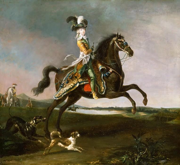 Louis-Auguste Brun -- Equestrian Portrait of Marie Antoinette in Hunting Costume. Château de Versailles