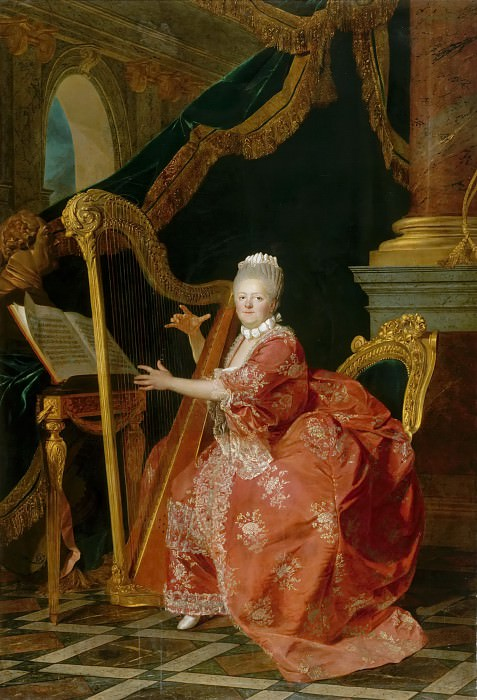 Etienne Aubry -- Madame Victoire, daughter of Louis XV, playing the harp. Château de Versailles