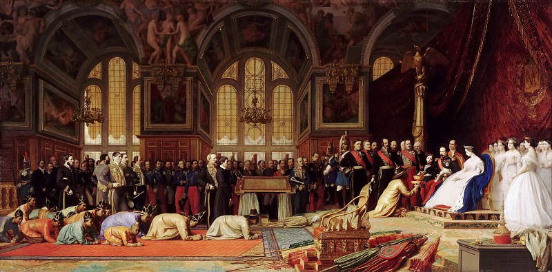 Jean-Léon Gérôme -- Reception of the Ambassadors of Siam by Napoleon III and Empress Eugénie at Fontainebleau Châteaux on June 27, 1861. Château de Versailles