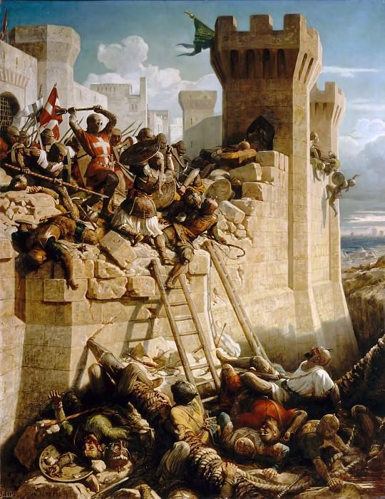 Dominique Papety -- Guillaume de Clermont defends Ptolemais, 1291. Château de Versailles
