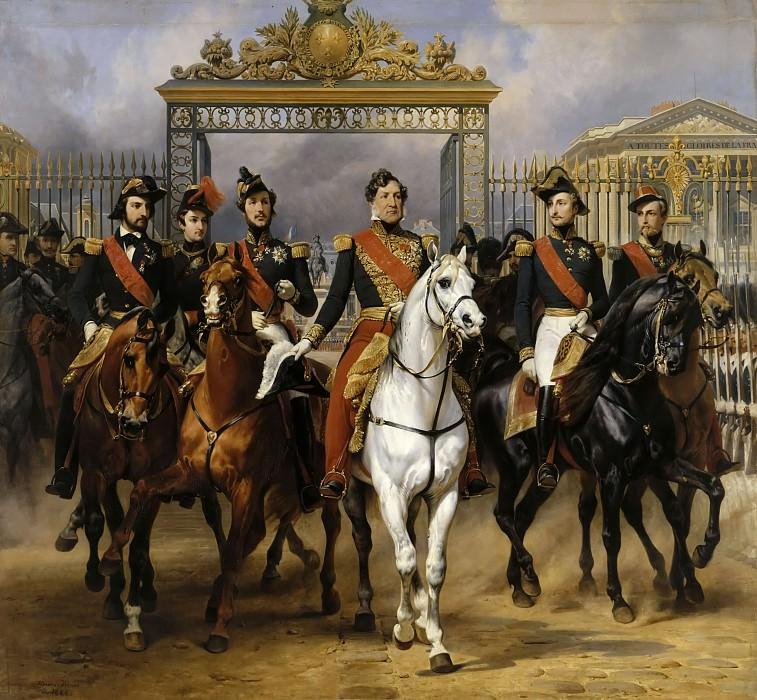 Vernet, Horace -- Le roi Louis-Philippe entouré de ses cinq fils sortant par la grille d'honneur du château de Versailles aprés avoir passé une revue militaire dans les cours le 10 juin 1837. Château de Versailles