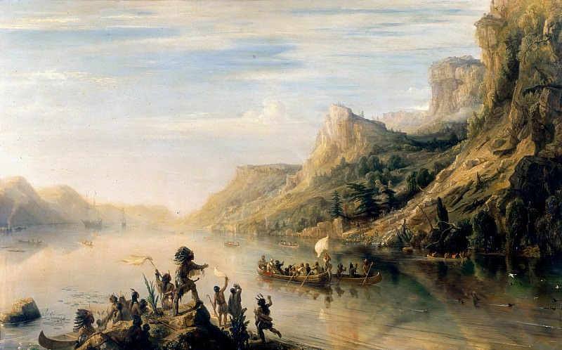 Théodore Gudin -- Jacques Cartier Discovering and Going up-stream the Saint Lawrence River in Canada in 1535. Château de Versailles