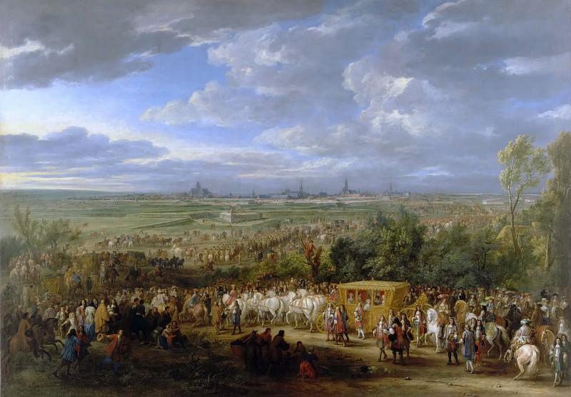 Adam Frans van der Meulen -- Solemn entry of Louis XIV and Queen Maria-Theresa at Arras, 30 July 1667. Château de Versailles