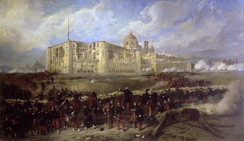 Jean-Adolphe Beaucé -- General Bazaine attacks Fort San Xavier during the Siege of Puebla, 29 March 1863 (Death of General Laumière). Château de Versailles