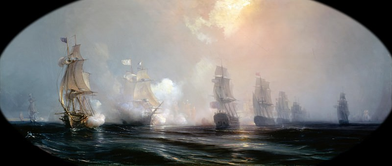 Théodore Gudin -- Episode from the Siege of Yorktown: Naval Combat before Chesapeake Bay between the English and French Fleets, on September 3, 1781. Château de Versailles
