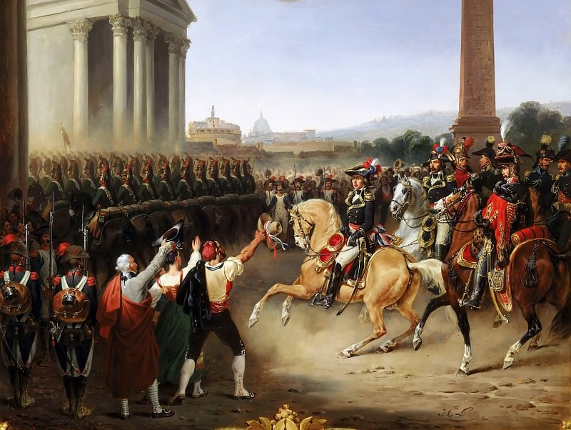 Hippolyte Lecomte -- Entry of the French Army in Rome. General Berthier at the head of the army, 15 February 1798. Château de Versailles