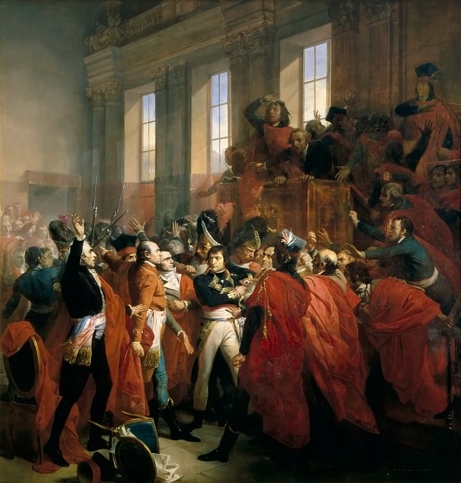 François Bouchot -- General Bonaparte at the Council of 500 in Saint-Cloud, November 10, 1799 (The Eighteenth Brumaire, Napoleon's coup d'etat at the council of 500). Château de Versailles