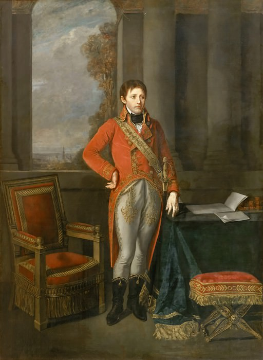 Jean-Baptiste Greuze -- Napoleon Bonaparte, First Consul, Standing before a View of Antwerp in 1803. Château de Versailles