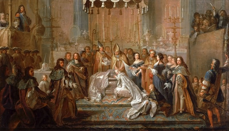 Joseph Christophe -- Baptism of the Dauphin Louis, son of Louis XIV, celebrated in the court of the Old Chateau de Saint-Germain-en-Laye, March 24, 1668.. Château de Versailles