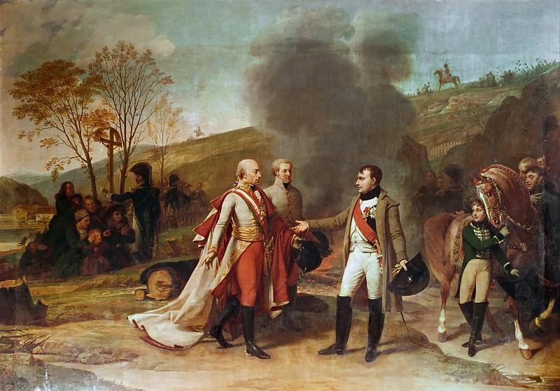 Antoine-Jean Gros (1771-1835) -- Interview Between Franz II and Napoleon after the Battle of Austerlitz, December 4, 1805. Château de Versailles
