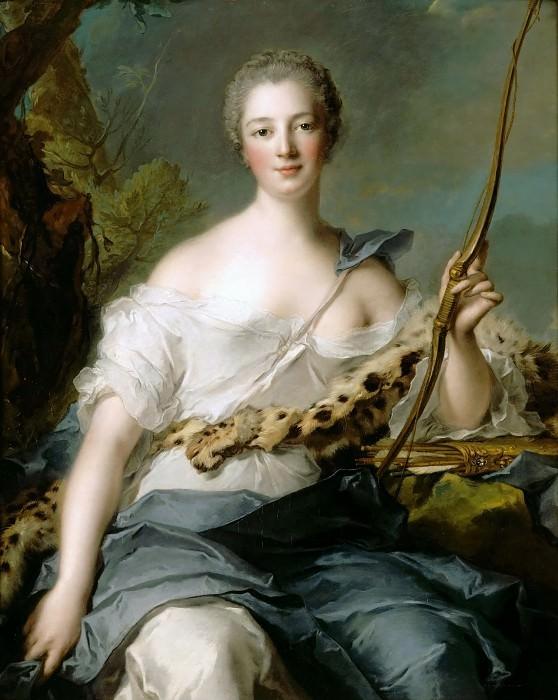 Jean-Marc Nattier -- Jeanne-Antoinette Poisson (1722-1764), Marquise de Pompadour, represented as Diana the Huntress. Château de Versailles
