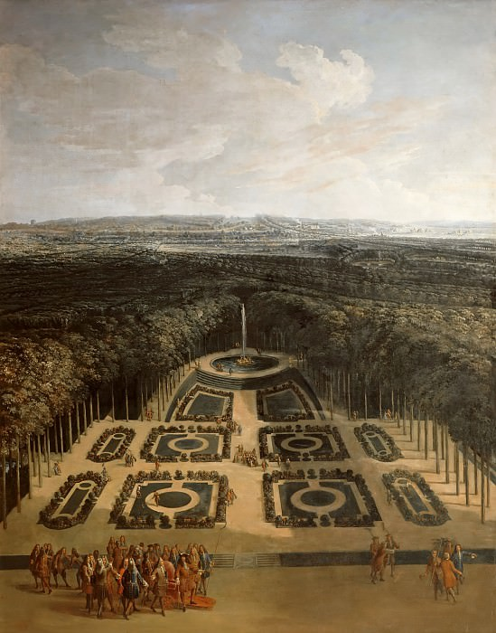 Charles Chatelain; formerly attributed to Etienne Allegrain -- View of the Gardens of the Grand Trianon from the Parterre bas, Versailles; Promenade of Louis XIV on the first level, promenade of Louis XV Dauphin with Duchesse de Ventadour along the outskirts on the second level. Château de Versailles