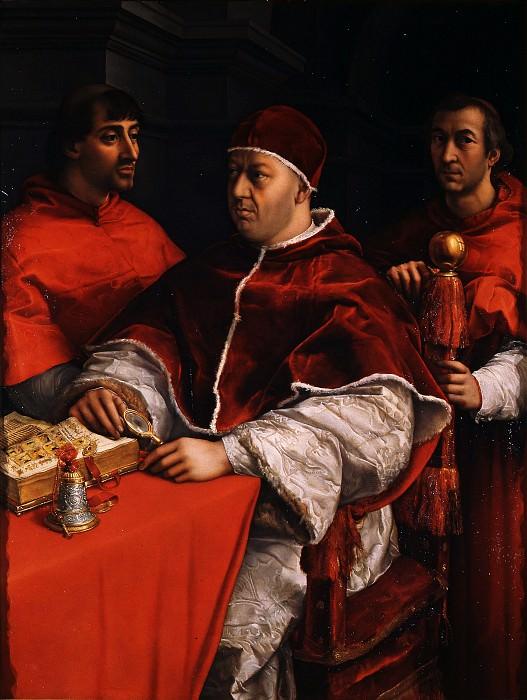 Рафаэлло Санцо - Портрет Папы Льва Х с кардиналами Джулио де Медичи и Луиджи де Росси. Уффици