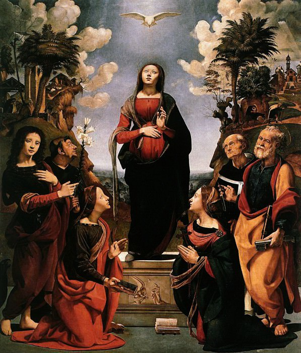 Piero di cosimo - The Immaculate Conception with Saints (also knows as The Incarnation of Jesus). Uffizi