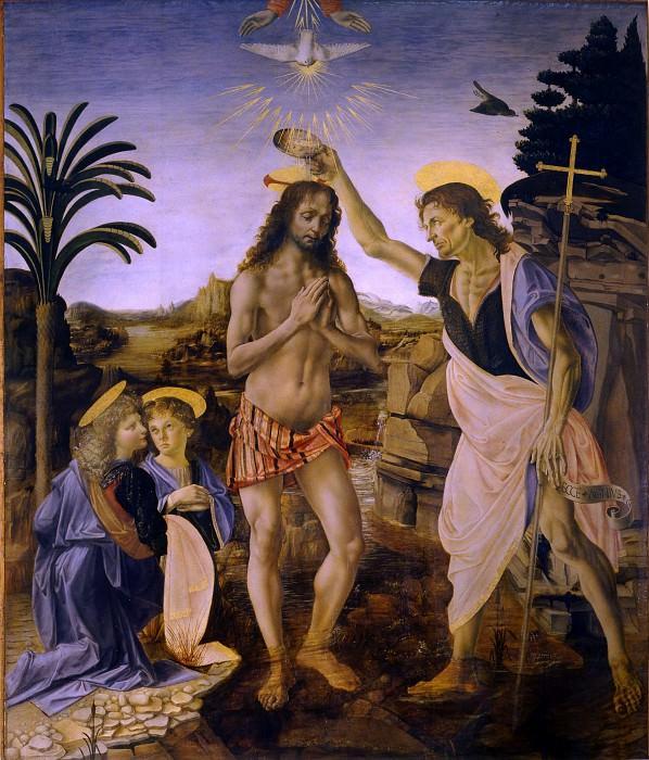 Вероккио и Леонардо да Винчи - Крещение Христа. Уффици