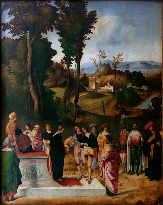 Giorgione o Giorgio da Castelfranco - Moses undergoing Trial by Fire. Uffizi