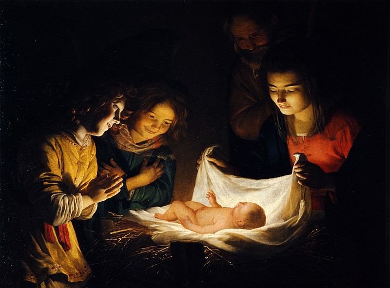 Gherardo delle Notti o Gheritt van Hontorst - Adoration of the Child. Uffizi