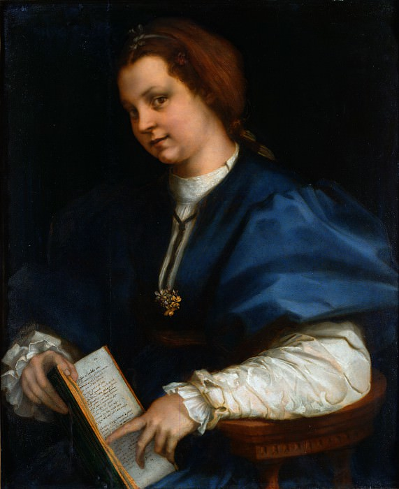 Andrea del Sarto - Lady with a book of Petrarchs rhyme. Uffizi