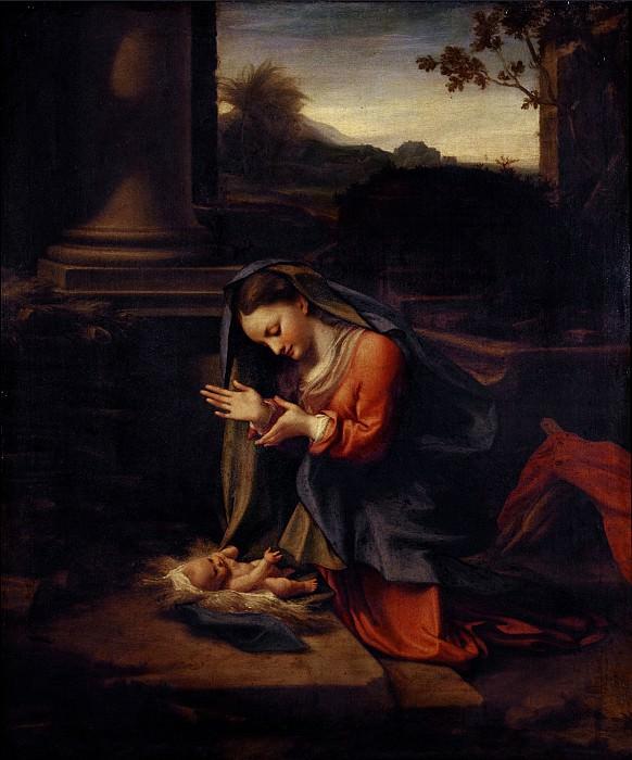 Корреджо - Мадонна, поклоняющаяся Младенцу. Уффици