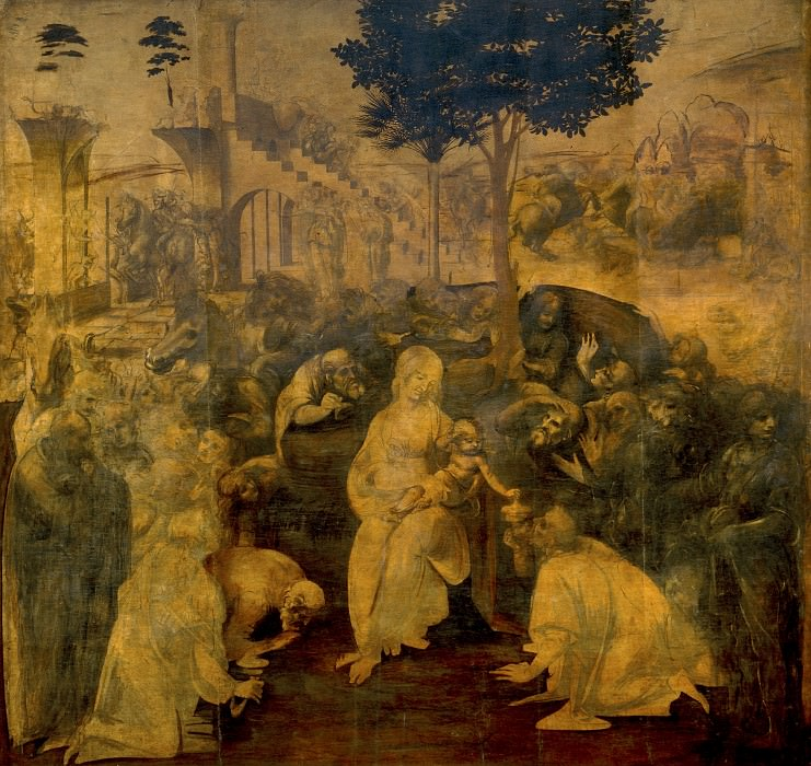 Leonardo da Vinci - Adoration of the Magi. Uffizi
