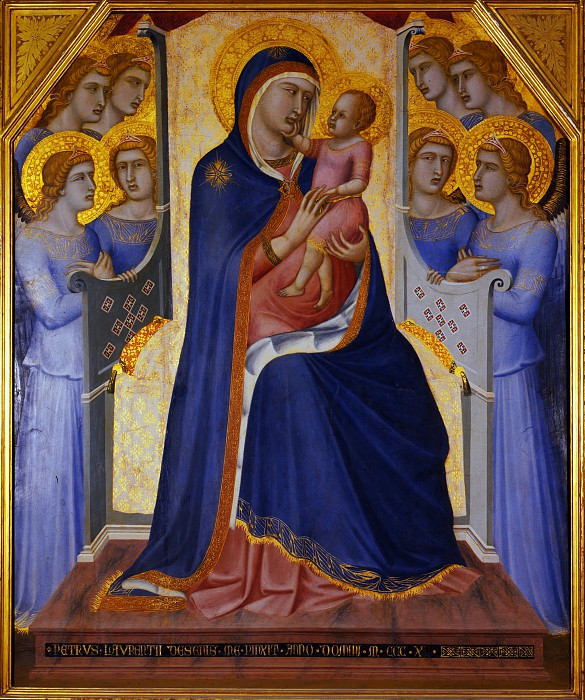 Pietro Lorenzetti - Madonna and Child Enthroned with Angels. Uffizi