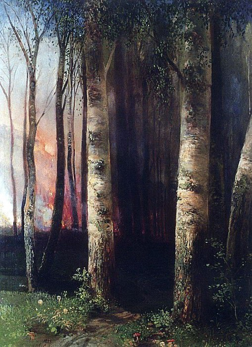 Fire in the forest. 1883. Alexey Kondratievich Savrasov