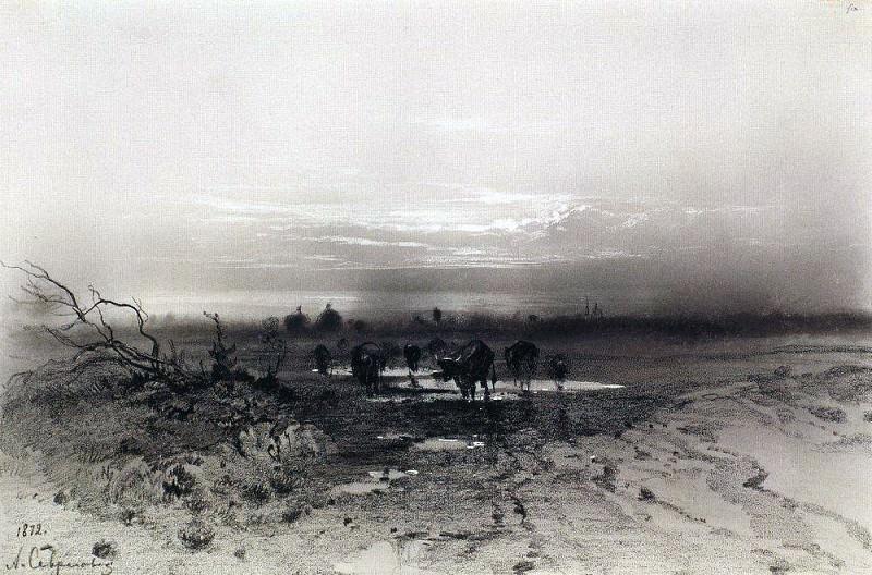 Вечер. Восход луны. 1872. Алексей Кондратьевич Саврасов