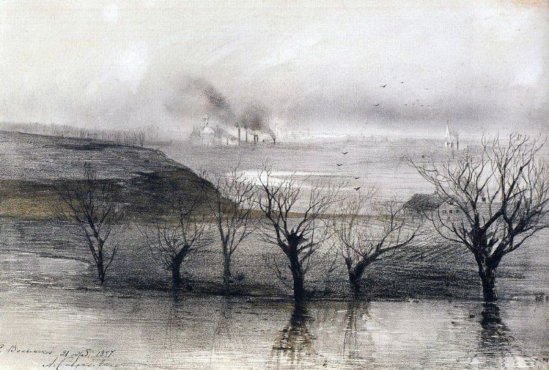 Landscape. The village of Volyn. 1887. Alexey Kondratievich Savrasov