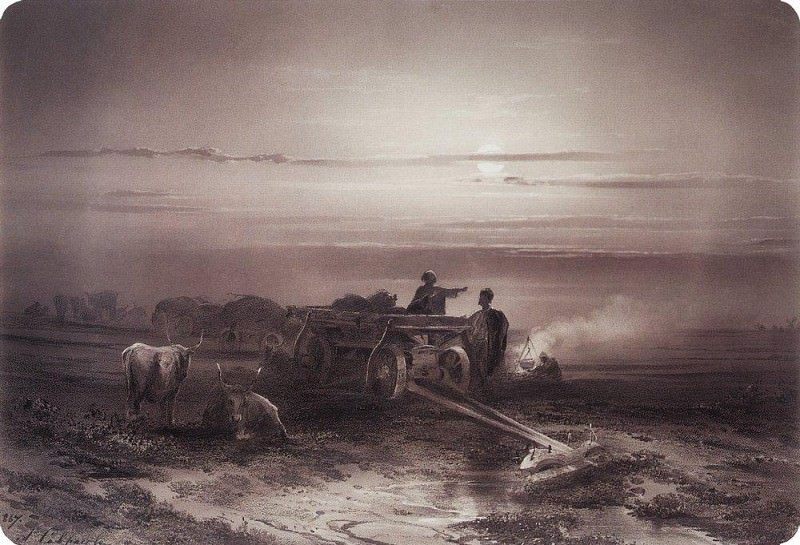 Halt convoy Chumaks steppe 2. 1867. Alexey Kondratievich Savrasov