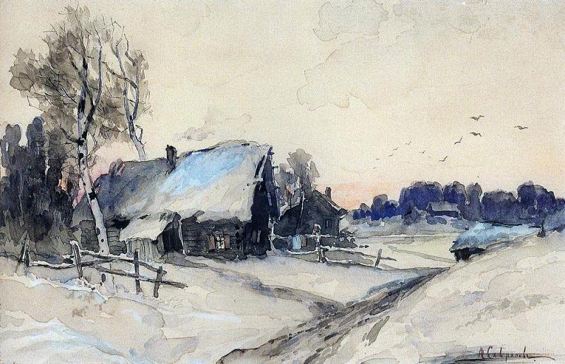 Village winter. 1880-1890-e. Alexey Kondratievich Savrasov