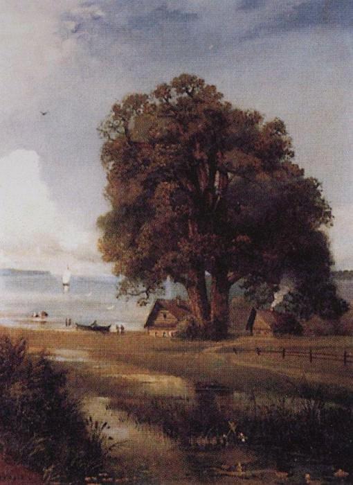 Landscape with a farm near the lake. 1880-1890-e. Alexey Kondratievich Savrasov